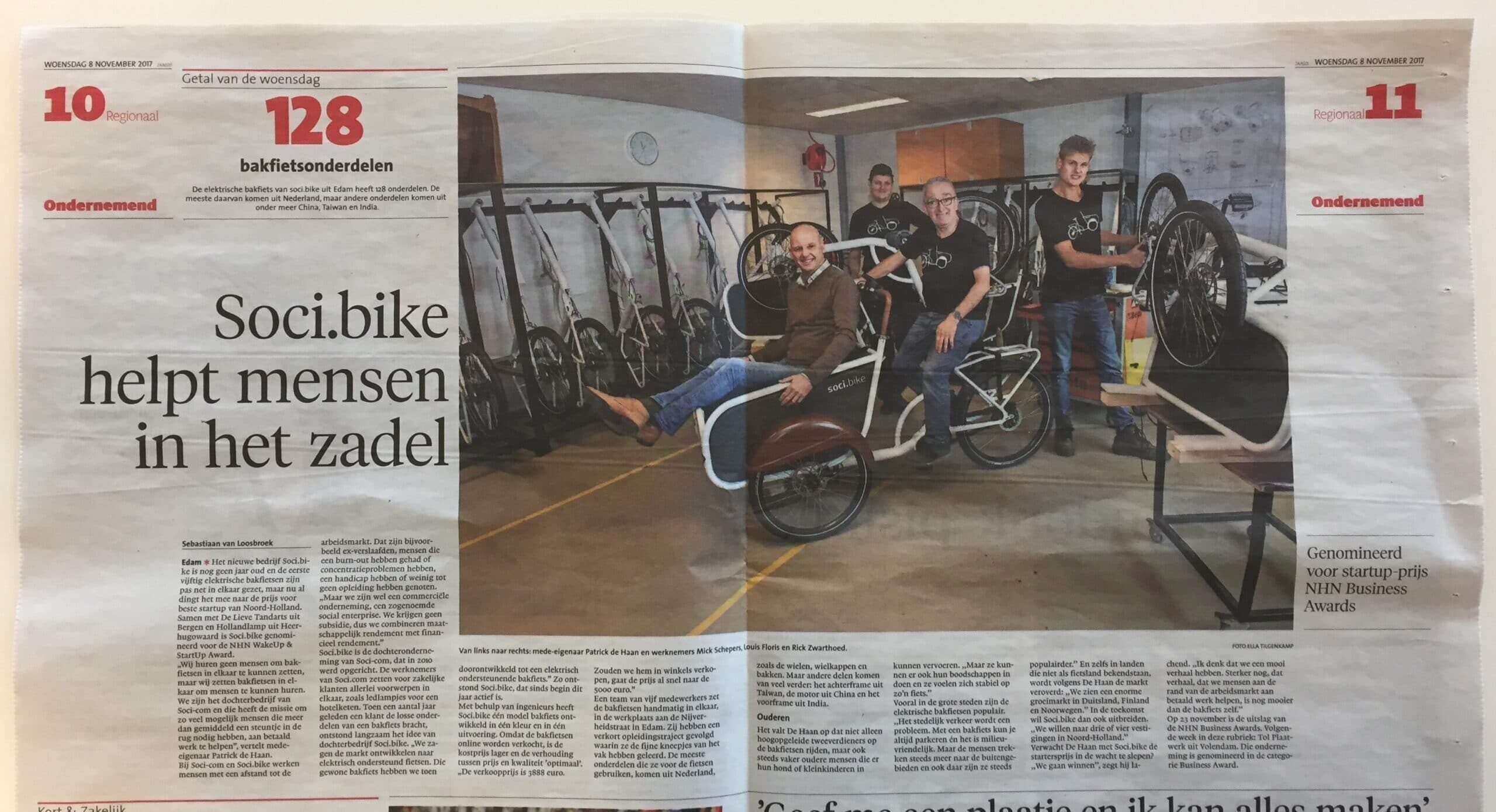 soci.bike in het Noord-Hollands Dagblad